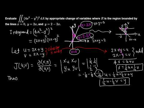 Calc III: Double Integral by change of variables example 4/7