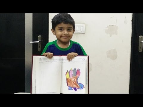 Hand Painting Tutorial by 3 Year Old Kid | How to make a Hand Bird by Sparsh Hacks