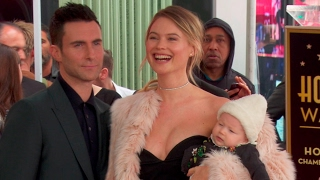 Adam Levine, Behati Prinsloo and daughter at the Adam Levine Star on the Hollywood Walk of Fame