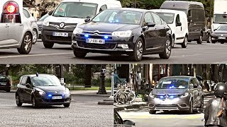 Voitures de Police Banalisées // Unmarked Police Cars Responding Compilation (French Sirens)