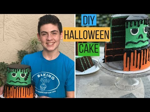 How To Make a Frankenstein Halloween Cake - Episode 46 Baking With Ryan