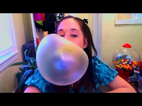 Blowing big yellow bubbles with Juicy Fruit bubblegum!