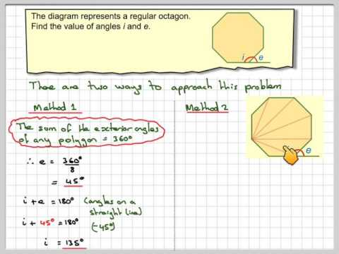 Interior and exterior angles of a regular octagon assessment