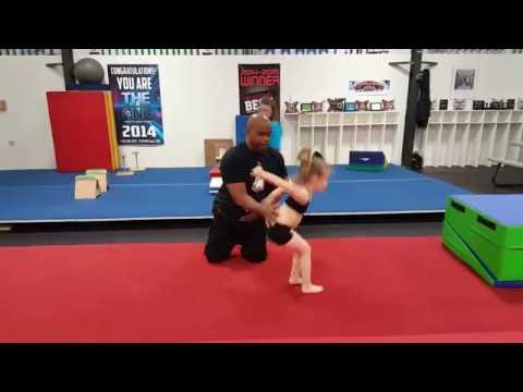 Don't stop at back tuck let's do a back handspring - back tuck - back handspring for this 5 year old