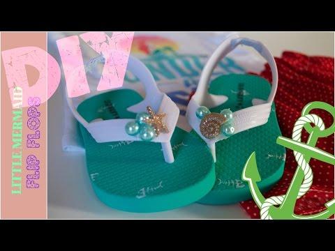 DIY Little Mermaid Flip Flops - 2 minute Tutorial