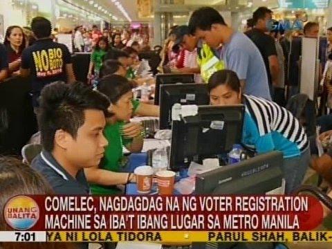 UB: Comelec, nagdagdag na ng voter registration machine sa iba't ibang lugar sa Metro Manila