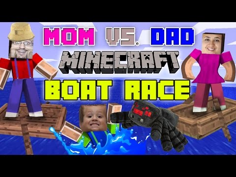 The DAD vs. MOM MINECRAFT BOAT RACE! w/ Chase + Spider Revenge |Pocket Edition FGTEEV Challenge Game