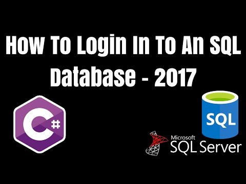 How To Login To An SQL Database Via A Console Application [2017] - C# / Visual Studio