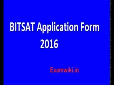 Bitsat 2016 Application Form