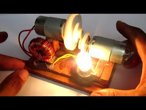 Free energy light bulbs with motor generator - Science DIY projects electricity at school 2018