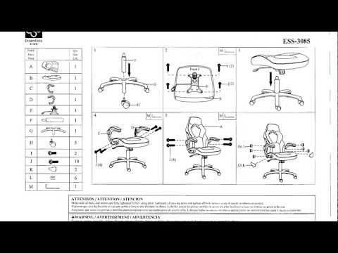 Essentials by OFM ESS-3085-GRY-OFM Essentials Racing Style Leather Gaming Chair Instructions