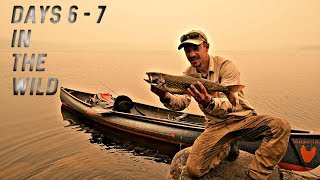 Camping in a FOREST FIRE! - CATCH AND COOK Lake Trout-STRANDED series e5