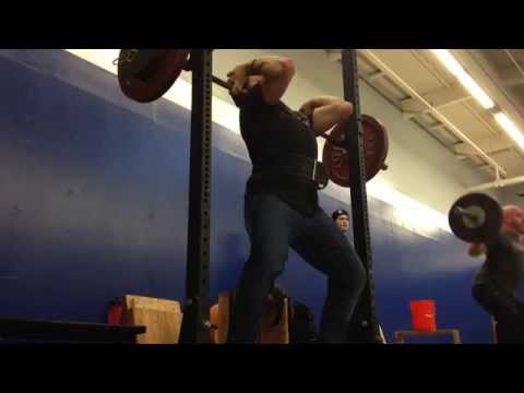 Kalle Beck Front Squats in Barbell Apparel Jeans