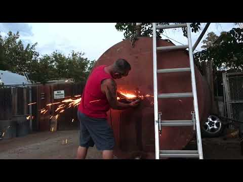 How to cut open a propane tank or fuel tank, Part #2, Giant smoker BBQ build.