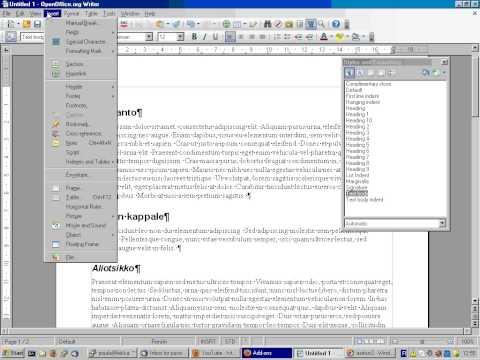 Näin teet sisällysluettelon OpenOffice Writer 3.0:lla