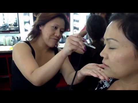Airbrush makeup class activities at CAMMUA Makeup School in Los Angeles