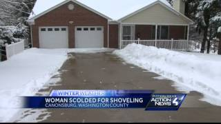 Police called on woman, 73, who shovels snow into street