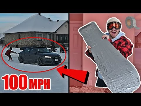 DIY DUCT TAPE SNOWBOARD EXPERIMENT!! (100+ mph STREET SNOWBOARDING)