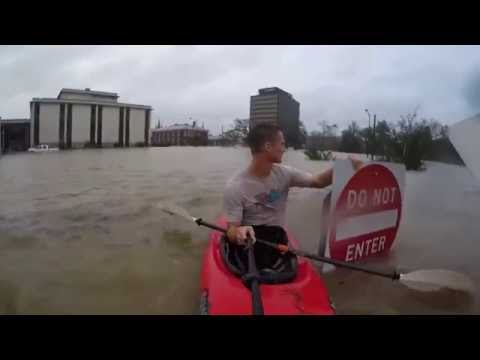 Fayetteville, NC Flooding 8OCT2016 Kayaking INSIDE a building. Hurricane Matthew