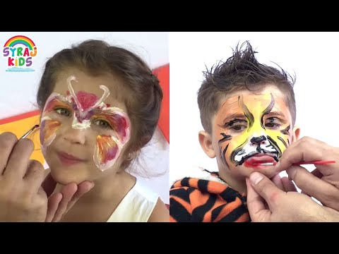 How to Face Paint Tiger &  Butterfly | Cute Halloween Costume Ideas | ABC 123 | Syraj Kids