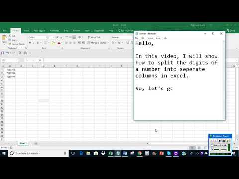 Split digits of a number into separate columns in Excel