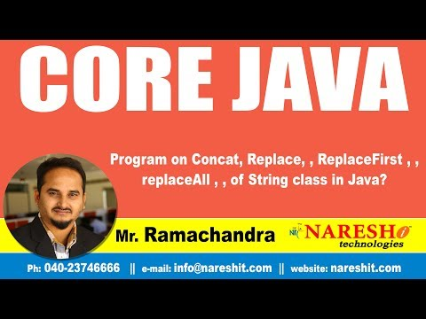 Program on Concat, Replace, , ReplaceFirst , , replaceAll , , of String class in Java? | Ramachandra