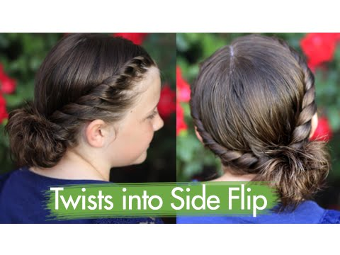 Twists into Side Flip | Updos | Cute Girls Hairstyles