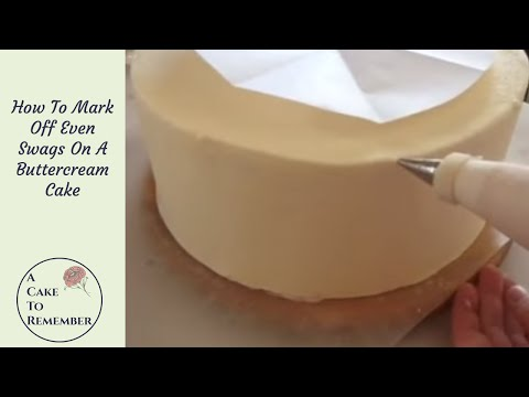 How to mark off sections on a cake to make evenly-spaced swags. Cake decorating tutorial