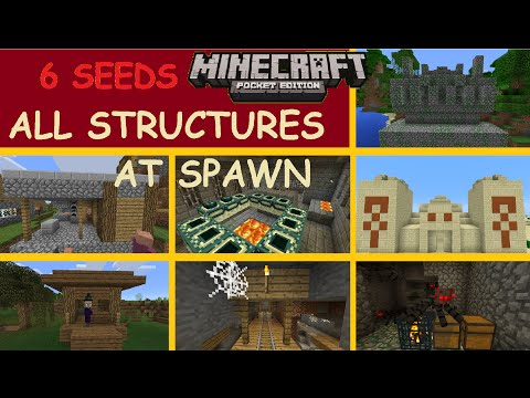 MCPE 1.0.0 - ALL STRUCTURES AT SPAWN ! STRONGHOLD DESERT & JUNGLE TEMPLE, DUNGEON & MORE | 6 SEEDS
