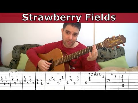 Fingerstyle Tutorial: Strawberry Fields Forever - Guitar Lesson w/ TAB