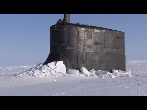 US Navy and Royal Navy Submarines surface during ICEX 18 Military Exercise