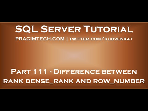 Difference between rank dense rank and row number in SQL