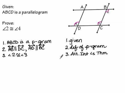 Proofs about Parallelograms part 1