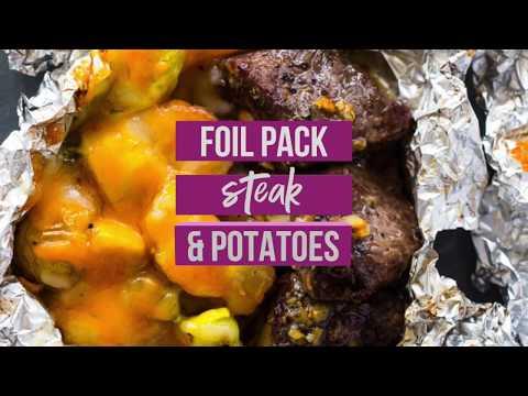 Foil Pack Garlic Steak, Potatoes & Veggies