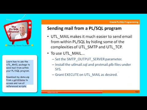 IO8: Sending mail from PL/SQL with UTL_MAIL
