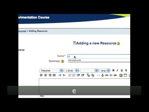Instructions for Linking eStudyGuide to Moodle Course