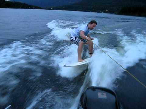 Fredrik Surfboard behind boat!