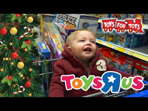 Christmas Shopping Spree Surprise Toys for Tots Toy Hunt Presents #LightTheWorld Kinder Playtime