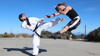 Taekwondo Girl vs Boxing Guy - Street Fight Scene