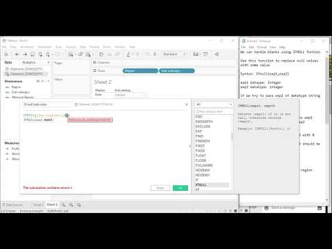 Tableau - How to replace nulls with blanks or string using IFNULL     Funtion IFNULL explained
