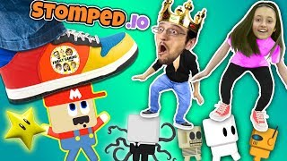 FGTEEV STOMPS on LITTLE PEOPLE! Super Mario Wario King! Daddy Daughter Destruction Duo in STOMPED.io