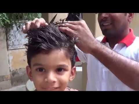Boys hair cut using Scissors - Manual hair cutting