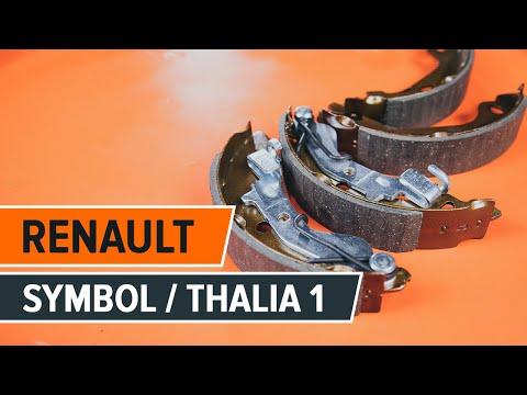 How to replace brake drum and brake shoes onRENAULT SYMBOL/THALIA 1[TUTORIAL AUTODOC]