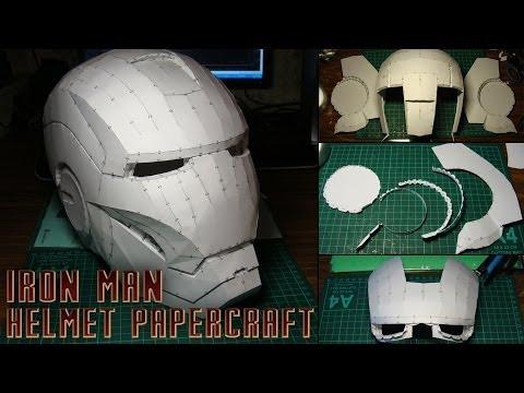 Iron Man Helmet Papercraft (Stop-motion assembly)