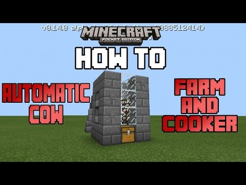 How To Make An Automatic Cow Farm And Cooker In MCPE|Minecraft PE (MCPE) How To #24