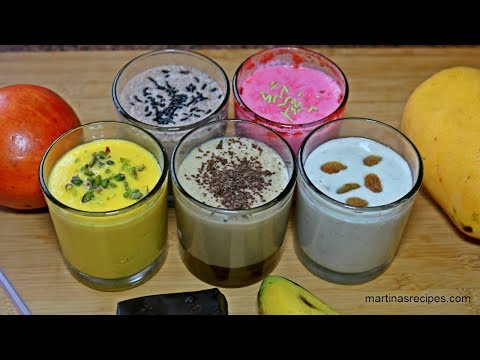 Lassi Recipes - 5 Yummy Flavours (Coffee, Mango, Pomegranate Strawberry, Chocolate, Banana)