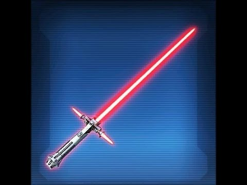 SWTOR: Defiant Vented Lightsaber with lightning weapon tuning and white crystal