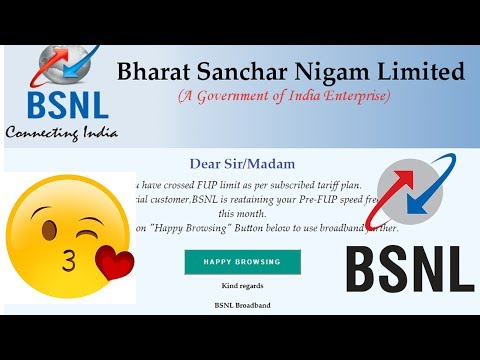BSNL Retaining your Pre-FUP download speed Sep 2 2017 absolutely free of cost