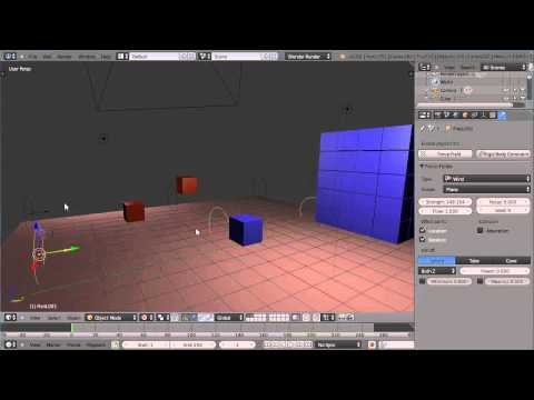 Blender 2.66 Tutorial - Rigid Body Dynamics - Collision Groups, Layers, Mass and Wind