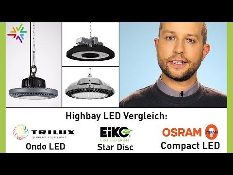 Vergleich LED Hallenspiegelleuchten/Highbay: EiKO EG Highbay, OSRAM Compact LED, TRILUX Ondo LED